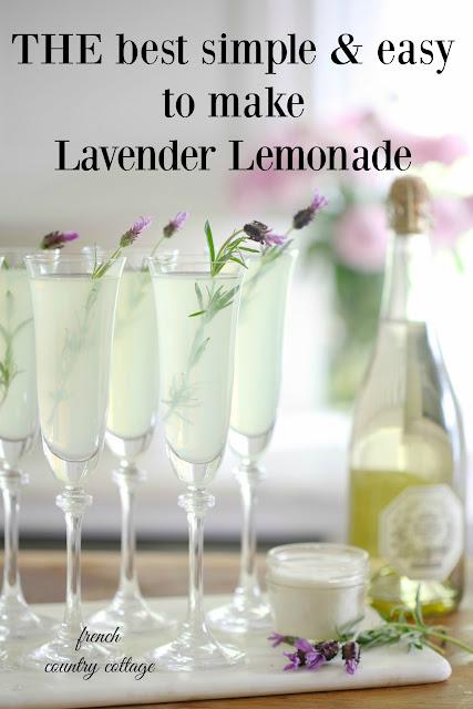 Lavender lemonade in champagne flutes