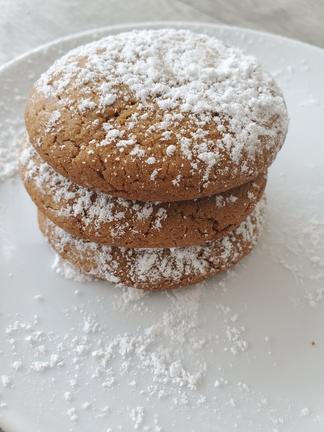 this is a stack of 3 molasses cookies