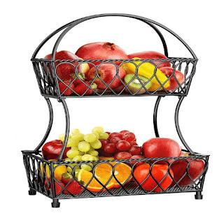 $13.99, PERLESMITH 2-Tier Fruit Basket Bowl Vegetable Organizer