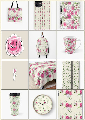Photos of rose patterned home décor and gift items from the mix and match Ketchy Roses Collection, by Clare Walker on Redbubble.