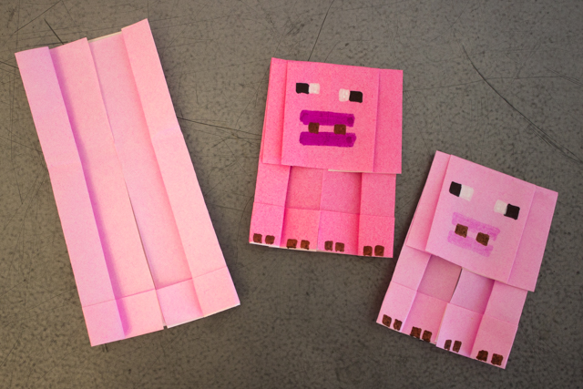 How to Fold Origami Minecraft Pigs- Super fun and easy kids art project