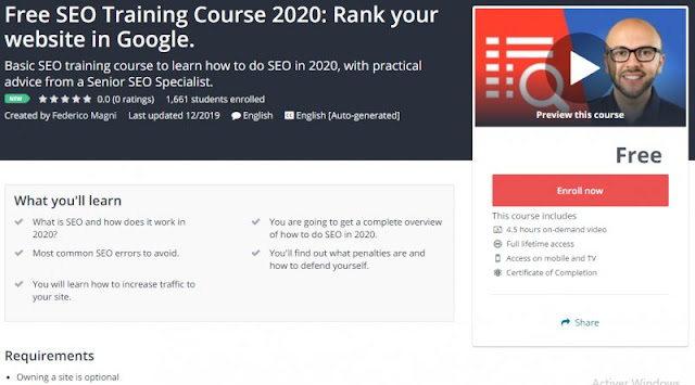 [100% Free] Free SEO Training Course 2020: Rank your website in Google.
