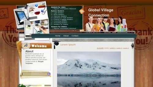 global village collection education blogger template 2014 for blogger or blogspot,download free education template,professional blogger template,template for school website blogger 2014 2015,free education 2014 2015 download,brown white combination blog template 2014 2015