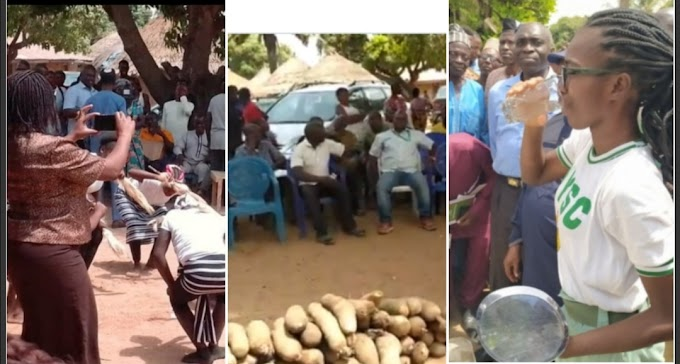 Corps member who erected a borehole water system in Benue, blessed with 80 tubers of yam by the community (Pictures)
