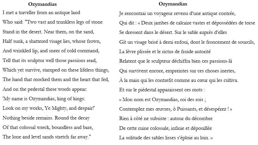 Ozymandias de Percy Shelley traduction en français