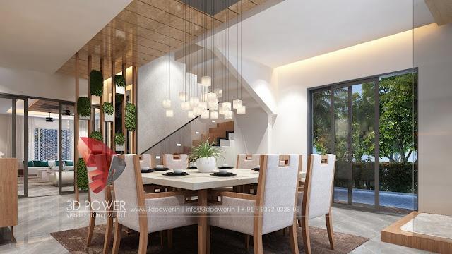 Beautiful Dining Area Interior Rendering