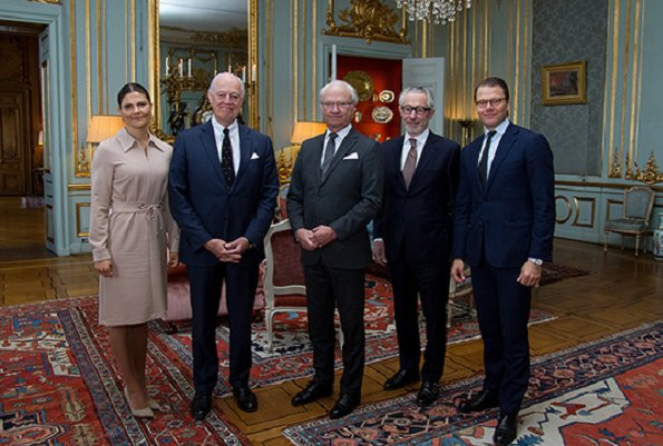 Crown Princess Victoria wore Filippa K Almondine Shirt Zip Dress. Crown Princess Victoria hosted a lunch Royal Palace