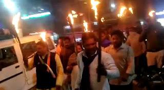 जय भीम सेना द्वारा किसान संघर्ष समिति के नेतृत्व में मशाल रैली निकाली