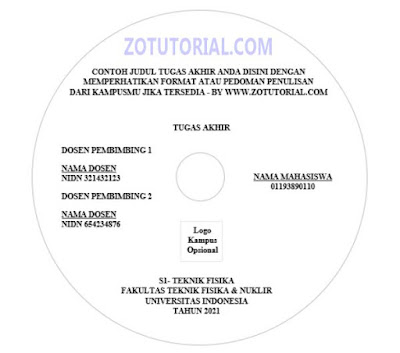 Template Cover Label CD/DVD Word docx Skripsi, Jurnal, TA, KP