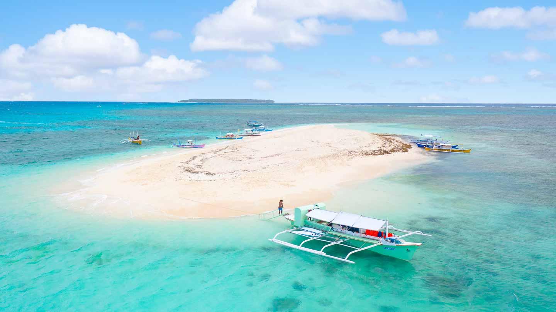 Naked Island Siargao Aerial Shot White san beach