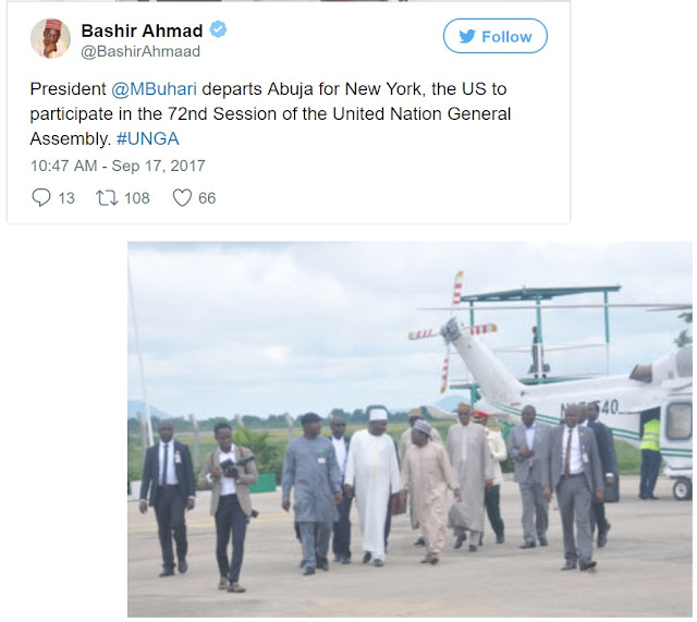BREAKING News: President Buhari Leaves Abuja for 72nd UN Assembly in New York (Photos)