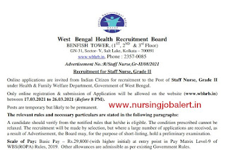 Staff Nurse Vacancy West Bengal