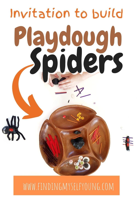 invitation to build playdough spiders