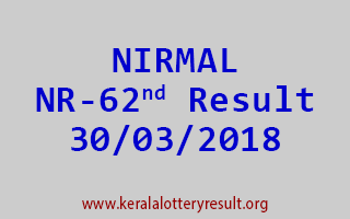 NIRMAL Lottery NR 62 Results 30-03-2018