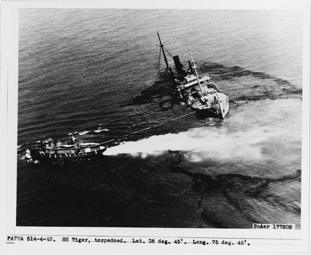 SS Tiger sinking in Chesapeake Bay, 2 April 1942 worldwartwo.filminspector.com