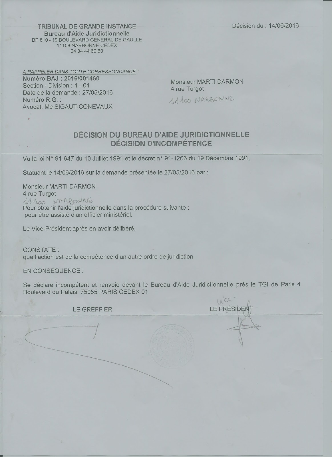 Affaire marti raymond 1 systeme et despotisme depass - Comment obtenir un avocat commis d office ...
