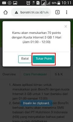 2 Cara Menukar Point BonsTri 3 Menjadi Kuota Internet Atau Pulsa