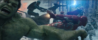 A shot of the Avengers also charging into battle, where they freeze for a moment.