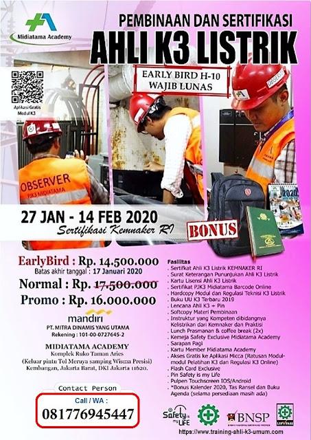 Ahli K3 Listrik kemnaker murah tgl. 27 Januari - 14 Feruari 2020 di Jakarta