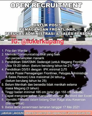 Lowongan Kerja Bank BRI Cabang Soe Sebagai Pemagang Frontliner, Petugas Administrasi dan Sales Person
