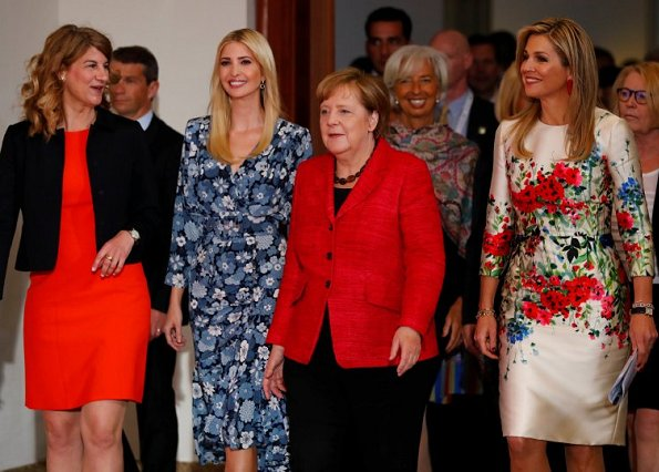 Queen Maxima, President Stephanie Bschorr, Ivanka Trump, Angela Merkel attend the W20 conference. Queen Maxima wore Natan Dress