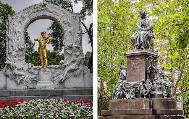Monumentos a Johann Strauss e a Beethoven em Viena, Áustria