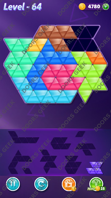 Block! Triangle Puzzle 9 Mania Level 64 Solution, Cheats, Walkthrough for Android, iPhone, iPad and iPod