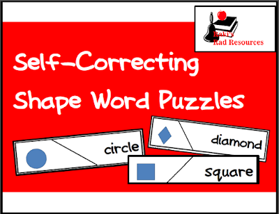 Free self correcting shape word puzzle for math or literacy centers. Great independent center for early readers from Raki's Rad Resources.