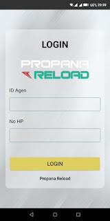 Tampilan Login Aplikasi Propana Reload