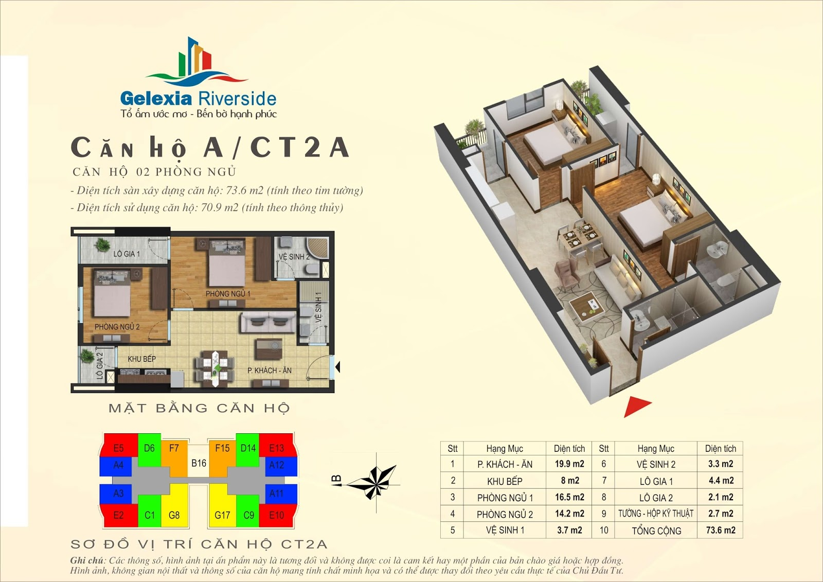 Mặt bằng căn hộ 73,6 m2 tòa CT2A - Gelexia Riverside
