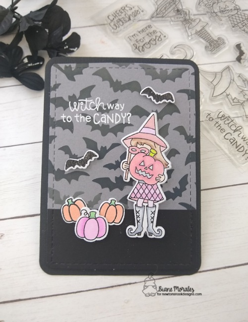 Witch way to the candy by Diane features Frames & Flags, Harvest Tails, PAW-tumn Newton, Brooms & Boos, and Flying Bats by Newton's Nook Designs; #inkypaws, #newtonsnook, #halloweencards, #cardmaking