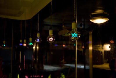 KAWS lightbulbs in the Standard Hotel