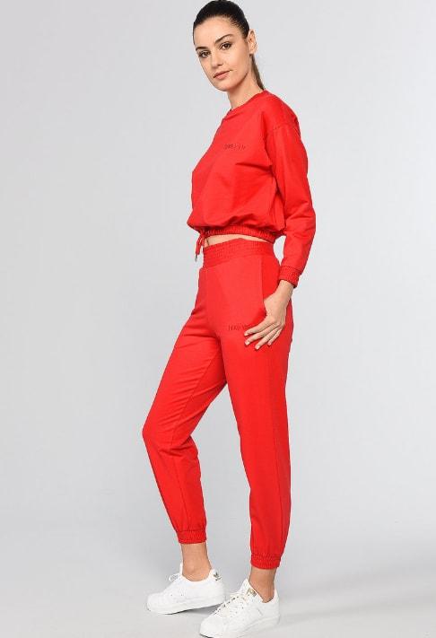 Ecko Pantaloni sport cu buzunare laterale rosii