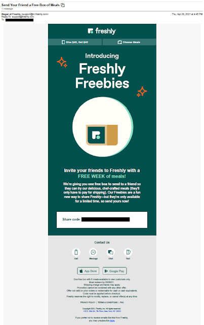 Freshly referral / share email