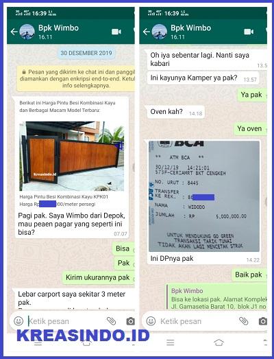 Pintu Pagar Besi Kombinasi Kayu pesanan Bpk Wimbo di Perum Pelni Depok