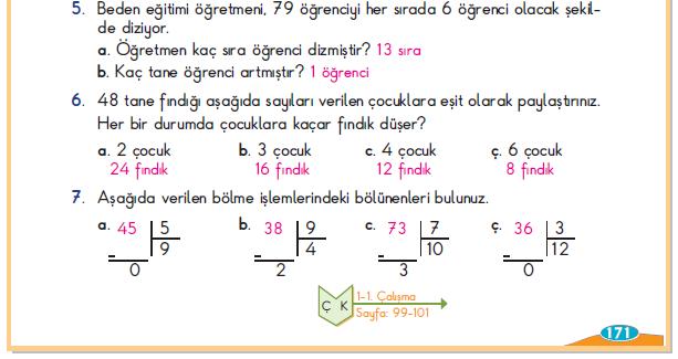 3. Sınıf Berkay Yayınları Matematik Ders Kitabı 171.Sayfa Cevapları Bölme İşlemi Yapalım