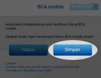 Verifikasi Ulang BCA Mobile - Pilih Simpan