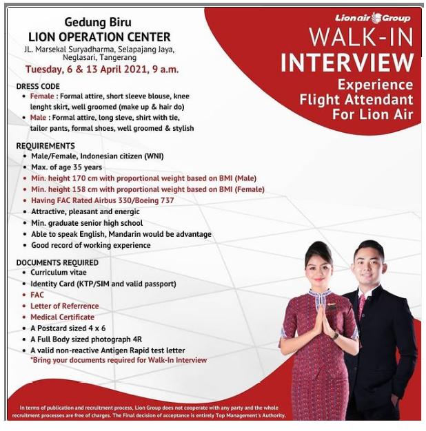 Lowongan Kerja Lion Air Tahun 2021