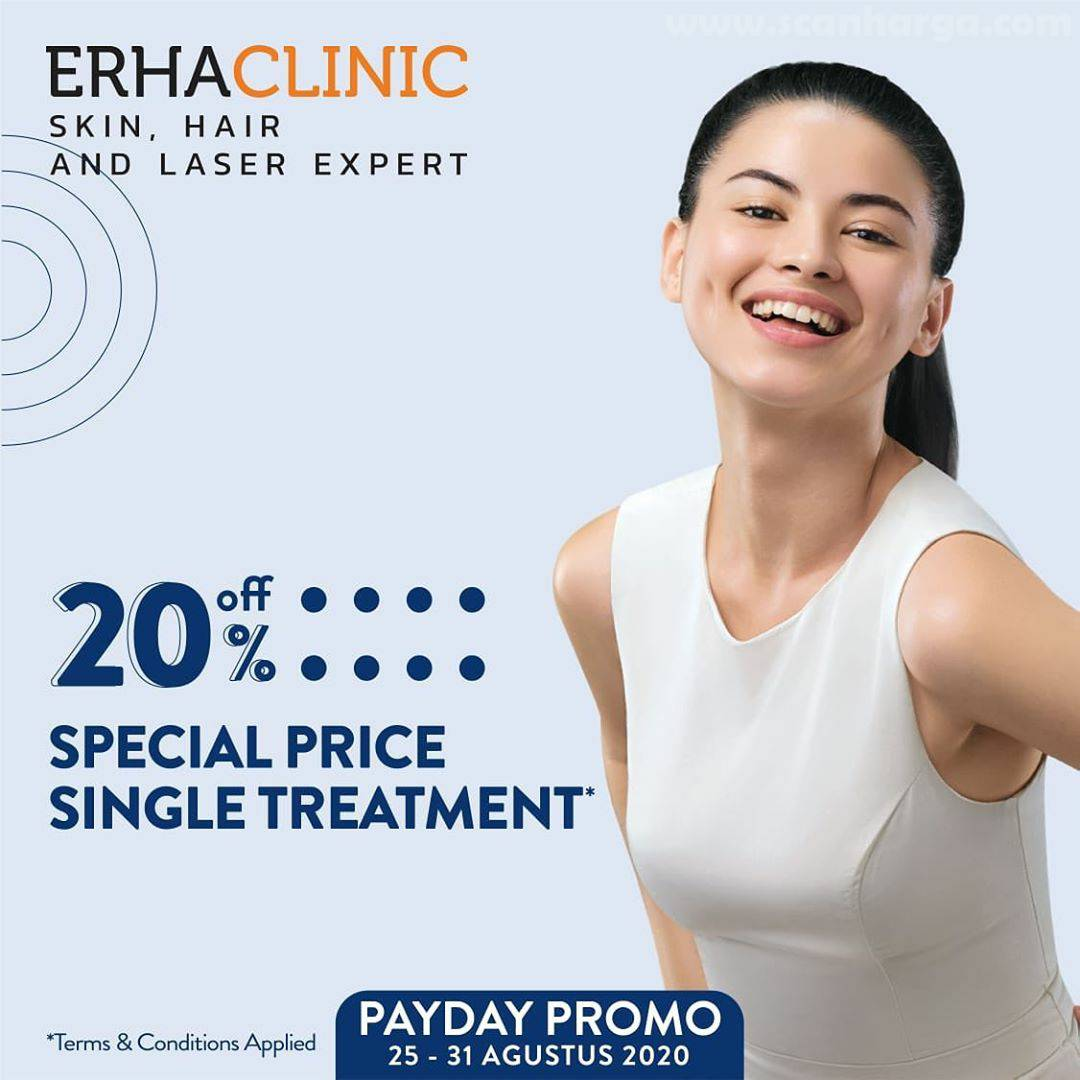Promo Erha Clinic Payday Promo 20% Off Special Price Single Treatment