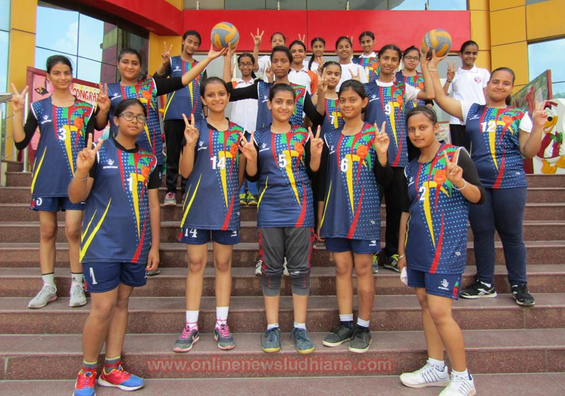 Spring Dale U-17 Volleyball Girls enjoying their victory after winning the title in Punjab School Games