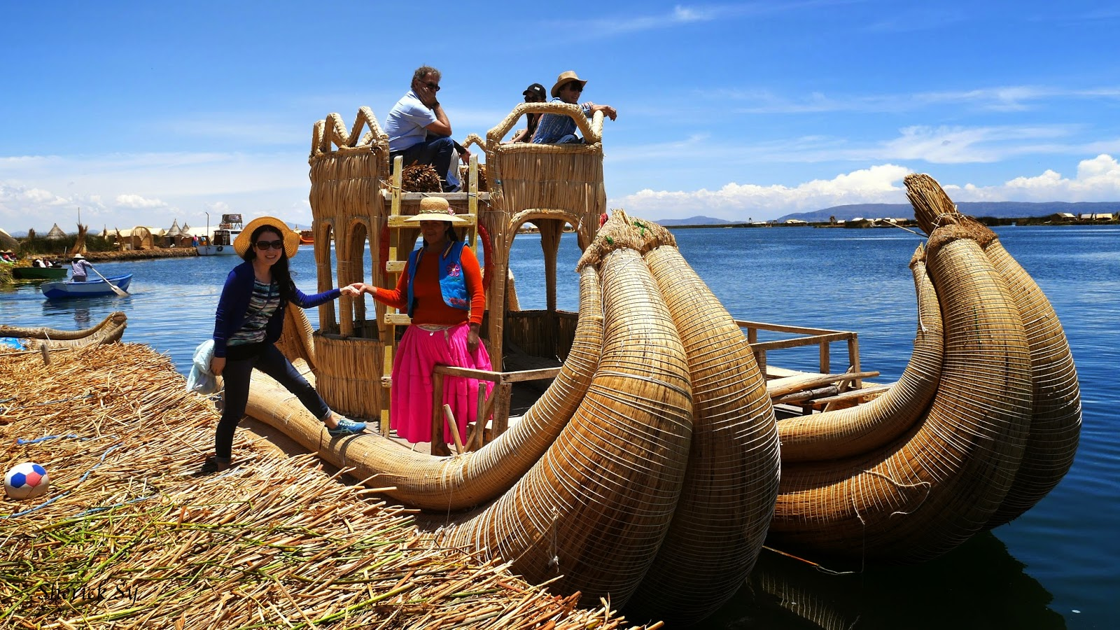 Totora Reed Boat on Uros Islands, Puno, Peru