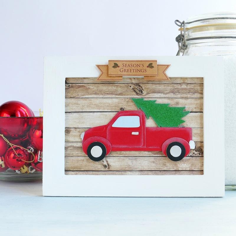 Decorazione natalizia – Targa di Natale da appendere con furgoncino e alberello
