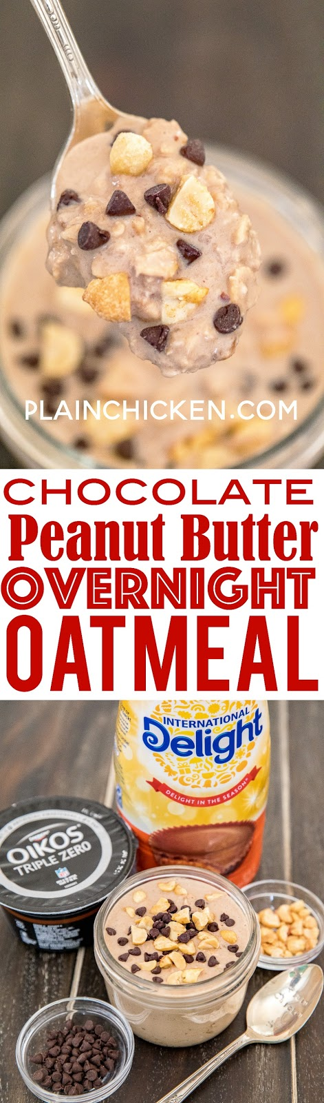 Chocolate Peanut Butter Overnight Oatmeal - perfect for breakfast or an afternoon pick-me-up. Loaded with protein! Oatmeal, Greek yogurt, Reese's Coffee Creamer and peanut butter. Stir it all together in a mason jar for easy clean up. Tastes like you are cheating, but you aren't! YUM! #chocolate #peanutbutter #overnightoatmeal
