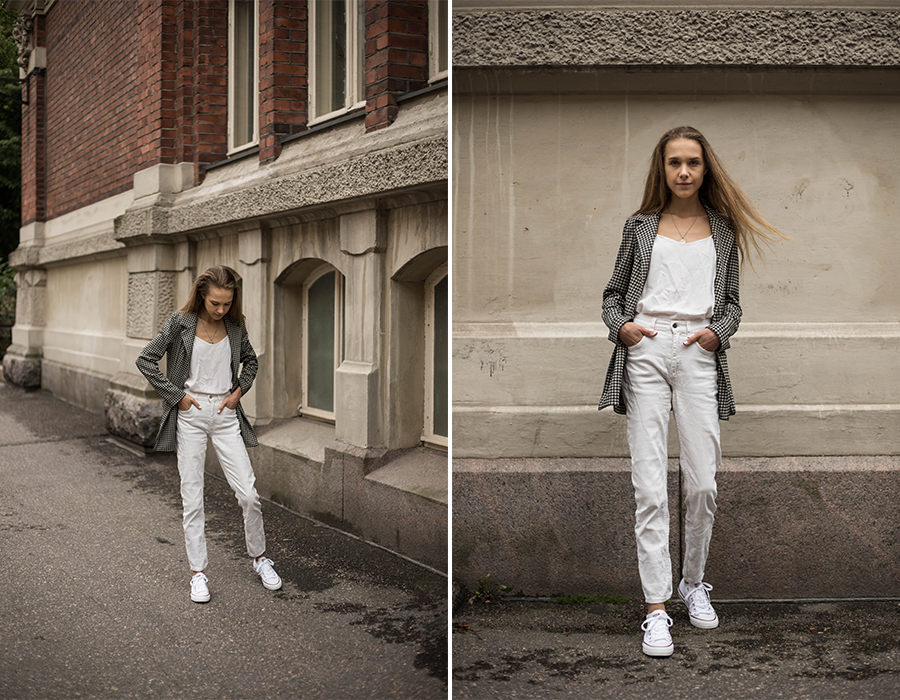 Valkoinen asukokonaisuus syksyyn // All white autumn outfit
