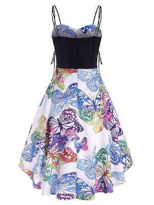 vestido de tirantes con estamapdos de mariposas