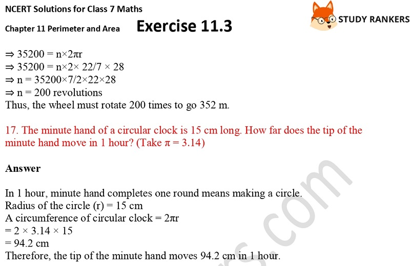 NCERT Solutions for Class 7 Maths Ch 11 Perimeter and Area Exercise 11.3 7