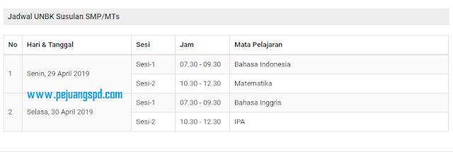Jadwal Ujian Nasional Susulan SMP/MTs T.A 2019/2020