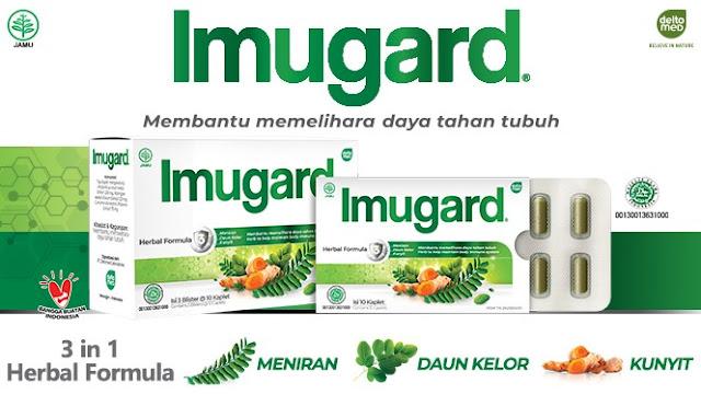 Imugard dengan bahan alami : Kunyit, Meniran, Daun Kelor