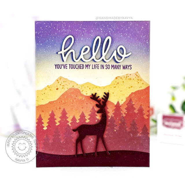 Sunny Studio Stamps: Forest Tree Stencils Rustic Winter Dies Hello Word Die Thank You Card by Kavya