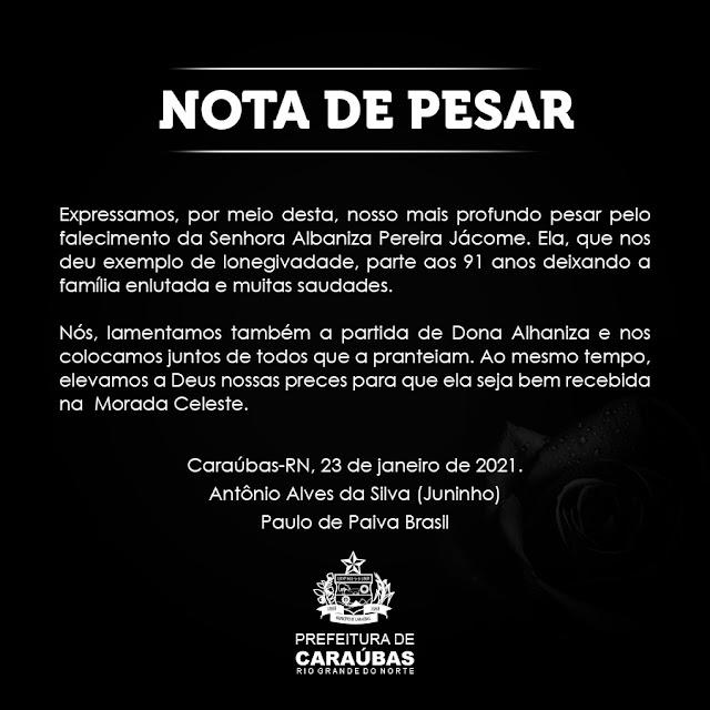 Prefeitura de Caraúbas emite Nota de Pesar pelo falecimento da Senhora Albaniza Pereira Jácome